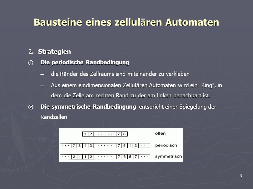8 Bausteine eines zellul ä ren Automaten 2.Strategien 2.