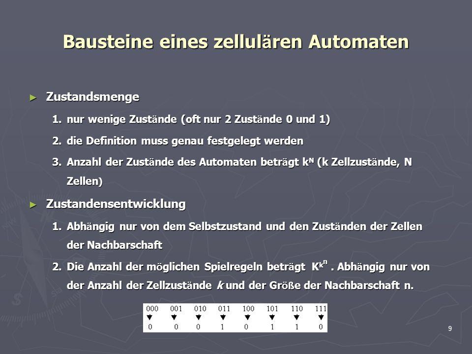 9 Bausteine eines zellul ä ren Automaten Zustandsmenge Zustandsmenge 1.nur wenige Zust ä nde (oft nur 2 Zust ä nde 0 und 1) 2.die Definition muss gena