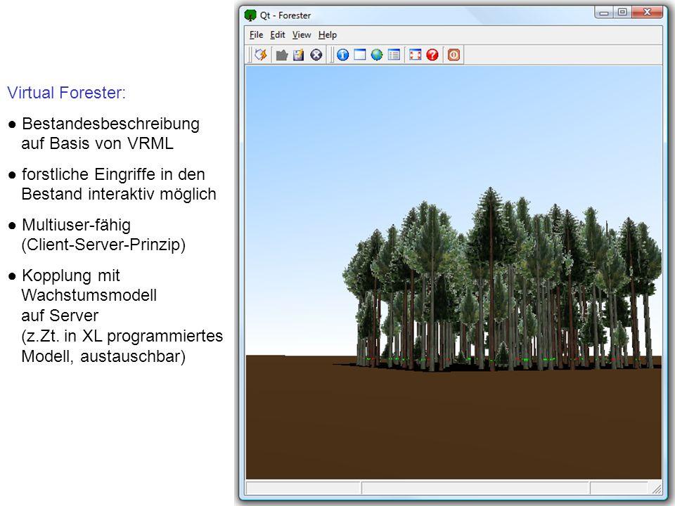 Virtual Forester: Bestandesbeschreibung auf Basis von VRML forstliche Eingriffe in den Bestand interaktiv möglich Multiuser-fähig (Client-Server-Prinzip) Kopplung mit Wachstumsmodell auf Server (z.Zt.