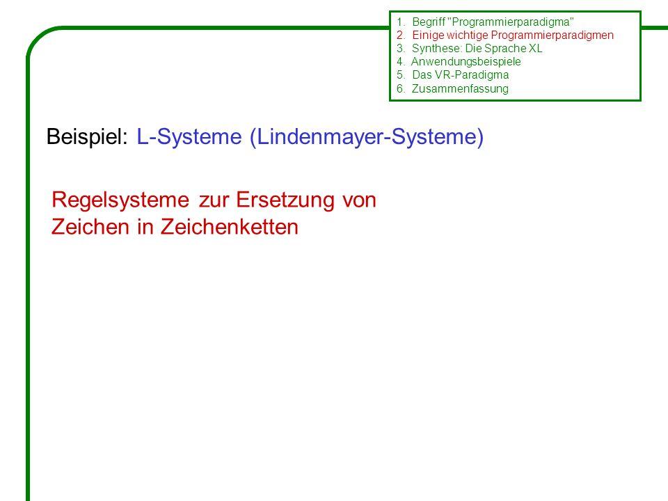 Regelsysteme zur Ersetzung von Zeichen in Zeichenketten Beispiel: L-Systeme (Lindenmayer-Systeme) 1.