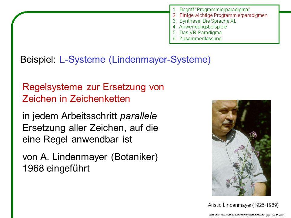 Regelsysteme zur Ersetzung von Zeichen in Zeichenketten in jedem Arbeitsschritt parallele Ersetzung aller Zeichen, auf die eine Regel anwendbar ist von A.