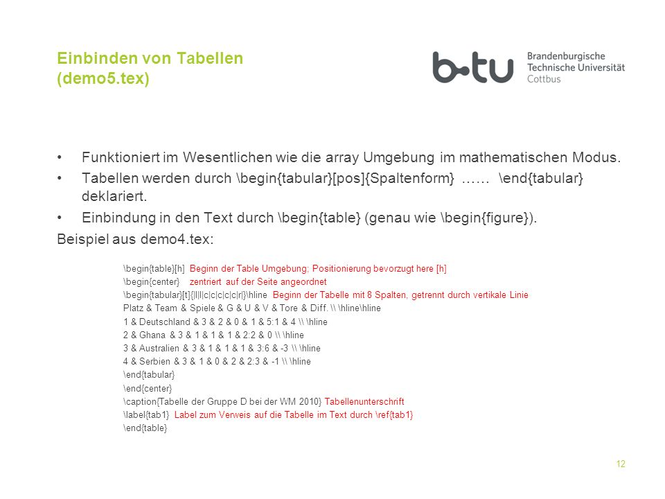 Einbinden von Tabellen (demo5.tex) Funktioniert im Wesentlichen wie die array Umgebung im mathematischen Modus. Tabellen werden durch \begin{tabular}[