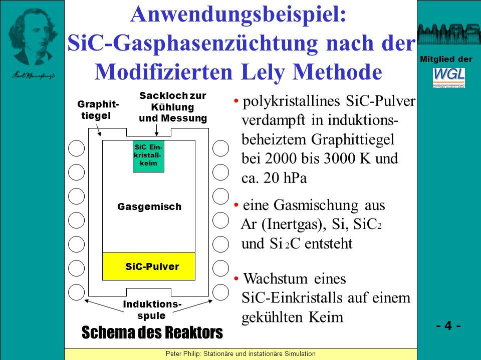 Simulationsergebnisse (Simulation derAufheizphase) Peter Philip: Stationäre und instationäre Simulation - 45 - Mitglied der Annahmen · Zylindersymmetrie von Geometrie und Feldern (insbesondere: Spulenringe) · Keine Konvektion (Gasströmung) · Effektive Spannung der Induktionsheizung: 230 V, Frequenz: 10000 Hz, gleichmäßige Aufteilung auf die Ringe · Gas besteht nur aus Argon (stimmt zu Beginn, später Strahlungsdominanz) · Diffus-graue Strahlung (Emissivität hängt nicht von Einfallswinkel und Frequenz ab), Kristall ist semitransparent, sonst sind Festkörper undurchsichtig · Großer Außenraum bei Zimmertemperatur