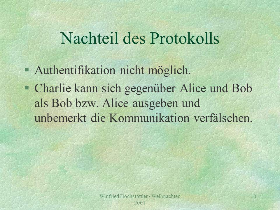 Winfried Hochstättler - Weihnachten 2001 11 Secret versus public key crypto §Systeme mit öffentlichem Schlüssel: §Alice veröffentlicht den Schlüssel d, mit dem Nachrichten an sie verschlüsselt werden (Telefonbuch oder Keyserver).
