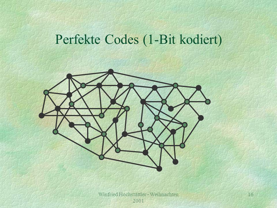 Winfried Hochstättler - Weihnachten 2001 17 Perfekte Codes (Code verschlüsseln) 1 2 2 3 3 2 2 3 1 2 3 3 2 3 3 1 31 1 3 1 2 2 3 4 4 3 3 3 2 3 3 4 3 4 1 1 3 3 35 1