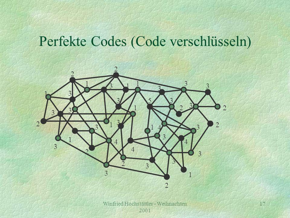 Winfried Hochstättler - Weihnachten 2001 18 5 3 1 Perfekte Codes (Code verschlüsseln) 1 2 2 3 3 2 2 3 1 2 3 3 2 3 3 1 3 1 3 1 2 2 3 4 4 3 3 3 2 3 3 4 3 4 1 13 3 1