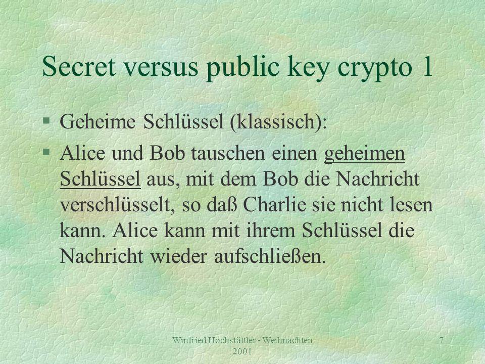 Winfried Hochstättler - Weihnachten 2001 8 Nachteile geheimer Schlüssel §Für jedes Kommunikationspaar wird ein neuer Schlüssel benötigt.