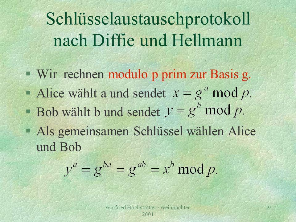 Winfried Hochstättler - Weihnachten 2001 10 Nachteil des Protokolls §Authentifikation nicht möglich.