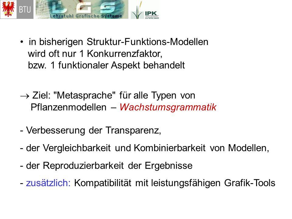 in bisherigen Struktur-Funktions-Modellen wird oft nur 1 Konkurrenzfaktor, bzw. 1 funktionaler Aspekt behandelt Ziel: