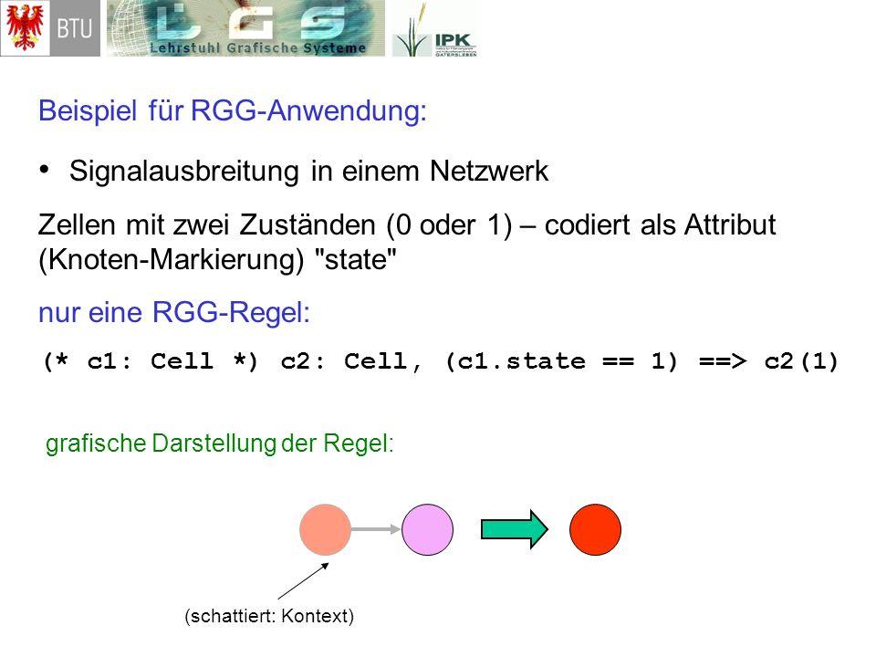 Beispiel für RGG-Anwendung: Signalausbreitung in einem Netzwerk Zellen mit zwei Zuständen (0 oder 1) – codiert als Attribut (Knoten-Markierung)