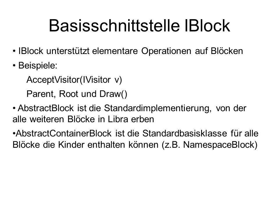 IBlock unterstützt elementare Operationen auf Blöcken Beispiele: AcceptVisitor(IVisitor v) Parent, Root und Draw() AbstractBlock ist die Standardimplementierung, von der alle weiteren Blöcke in Libra erben AbstractContainerBlock ist die Standardbasisklasse für alle Blöcke die Kinder enthalten können (z.B.