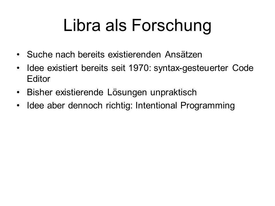 Libra als Experiment Spielwiese zum Ausprobieren Suche nach einer bequemeren Code Darstellung Analyse von Benutzbarkeit existierender Entwicklungsumgebungen