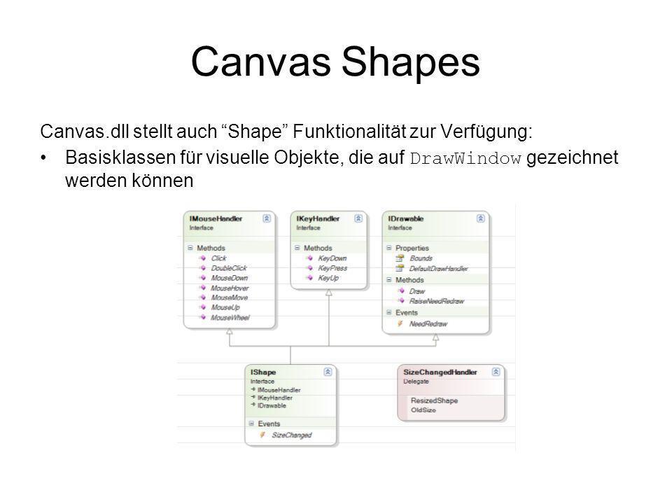 Canvas Shapes Canvas.dll stellt auch Shape Funktionalität zur Verfügung: Basisklassen für visuelle Objekte, die auf DrawWindow gezeichnet werden können