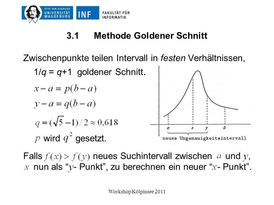 Methode Goldener Schnitt Sie benötigt nur einzelnen neuen Lauf für jeden Vergleich, mit zwei Läufen zu Beginn.