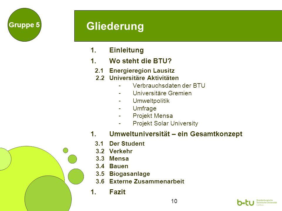 10 Gliederung 1.Einleitung 1.Wo steht die BTU? 2.1 Energieregion Lausitz 2.2 Universitäre Aktivitäten -Verbrauchsdaten der BTU -Universitäre Gremien -