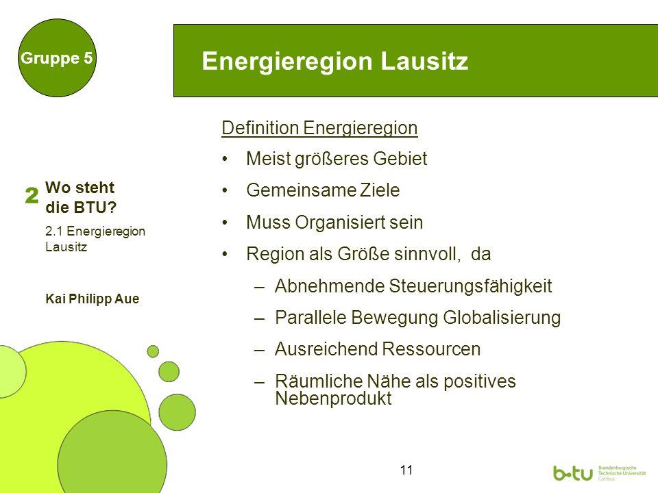 11 Energieregion Lausitz Definition Energieregion Meist größeres Gebiet Gemeinsame Ziele Muss Organisiert sein Region als Größe sinnvoll, da –Abnehmen