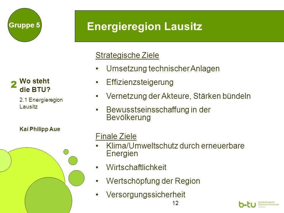 12 Energieregion Lausitz Strategische Ziele Umsetzung technischer Anlagen Effizienzsteigerung Vernetzung der Akteure, Stärken bündeln Bewusstseinsscha