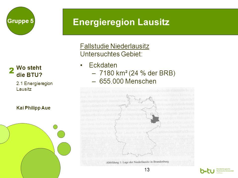 13 Energieregion Lausitz Fallstudie Niederlausitz Untersuchtes Gebiet: Eckdaten –7180 km² (24 % der BRB) –655.000 Menschen Gruppe 5 2.1 Energieregion