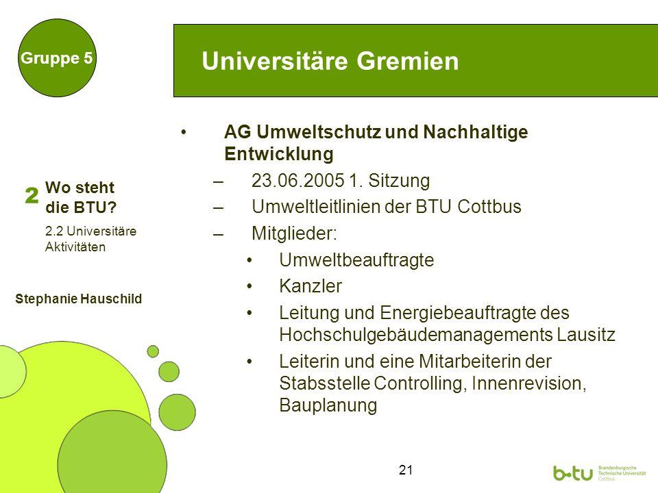 21 Universitäre Gremien AG Umweltschutz und Nachhaltige Entwicklung –23.06.2005 1. Sitzung –Umweltleitlinien der BTU Cottbus –Mitglieder: Umweltbeauft
