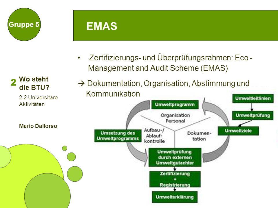 28 EMAS Gruppe 5 Zertifizierungs- und Überprüfungsrahmen: Eco - Management and Audit Scheme (EMAS) Dokumentation, Organisation, Abstimmung und Kommuni