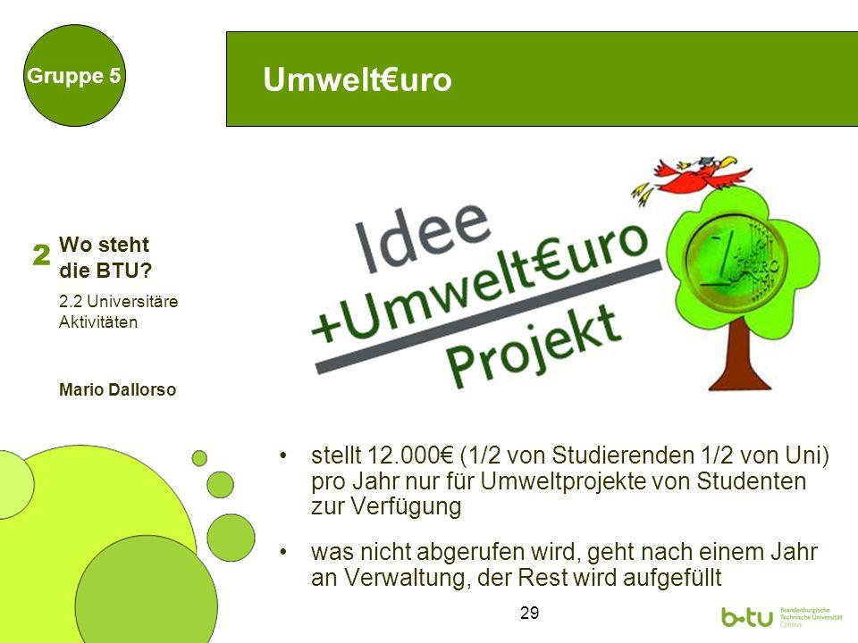 29 Umwelturo stellt 12.000 (1/2 von Studierenden 1/2 von Uni) pro Jahr nur für Umweltprojekte von Studenten zur Verfügung was nicht abgerufen wird, ge