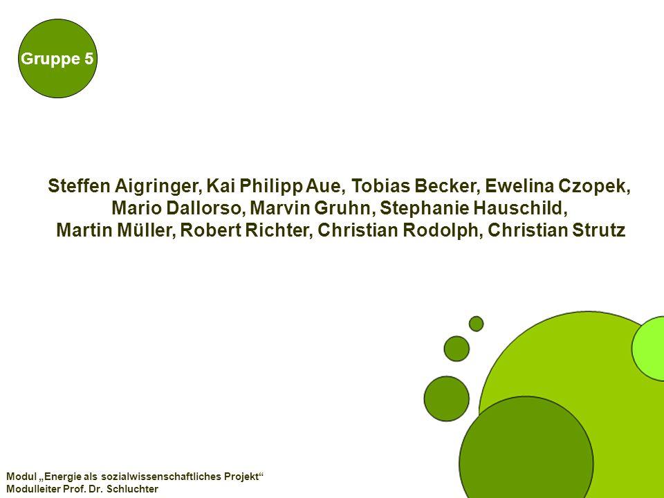 Gruppe 5 Modul Energie als sozialwissenschaftliches Projekt Modulleiter Prof. Dr. Schluchter Steffen Aigringer, Kai Philipp Aue, Tobias Becker, Ewelin