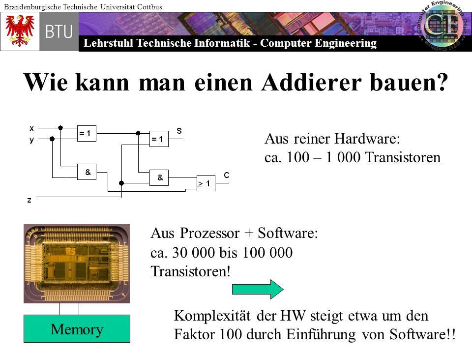 Lehrstuhl Technische Informatik - Computer Engineering Brandenburgische Technische Universität Cottbus Wie kann man einen Addierer bauen? Aus reiner H