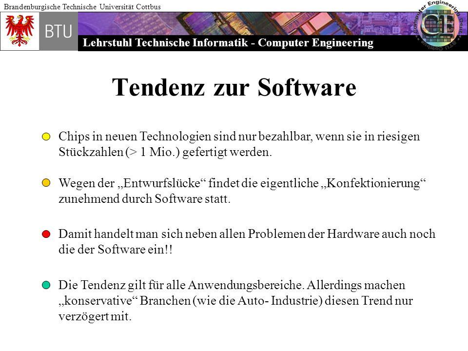 Lehrstuhl Technische Informatik - Computer Engineering Brandenburgische Technische Universität Cottbus Tendenz zur Software Chips in neuen Technologie