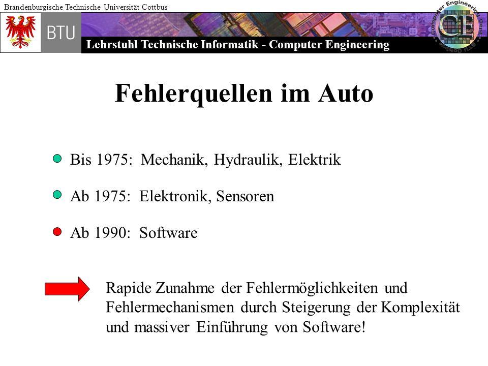 Lehrstuhl Technische Informatik - Computer Engineering Brandenburgische Technische Universität Cottbus Fehlerquellen im Auto Bis 1975: Mechanik, Hydra