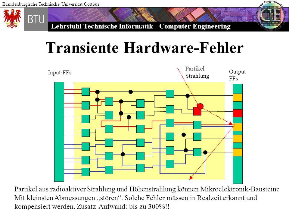 Lehrstuhl Technische Informatik - Computer Engineering Brandenburgische Technische Universität Cottbus Transiente Hardware-Fehler Input-FFs Output FFs