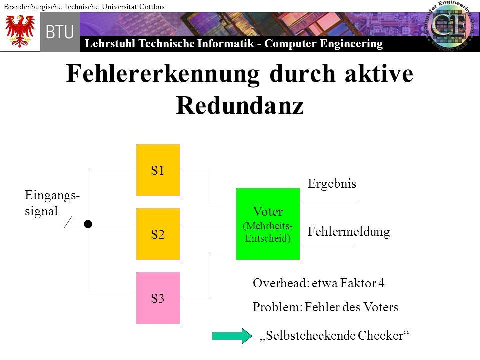 Lehrstuhl Technische Informatik - Computer Engineering Brandenburgische Technische Universität Cottbus Fehlererkennung durch aktive Redundanz S1 S2 S3