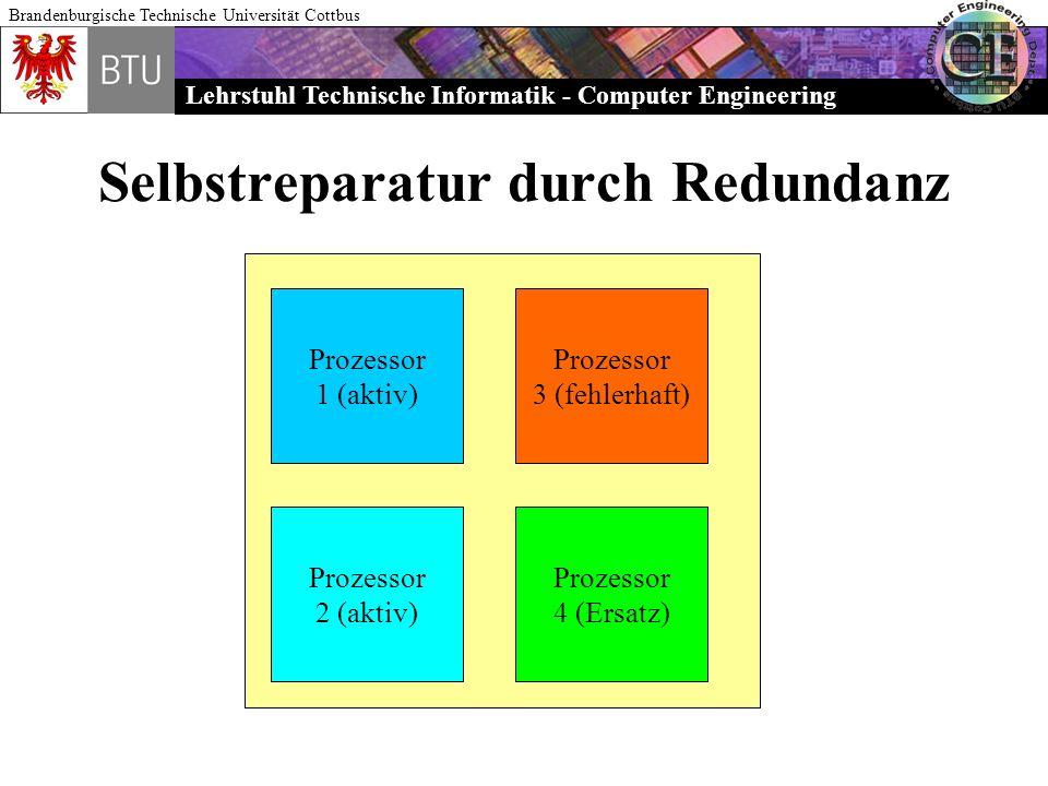 Lehrstuhl Technische Informatik - Computer Engineering Brandenburgische Technische Universität Cottbus Selbstreparatur durch Redundanz Prozessor 1 (ak
