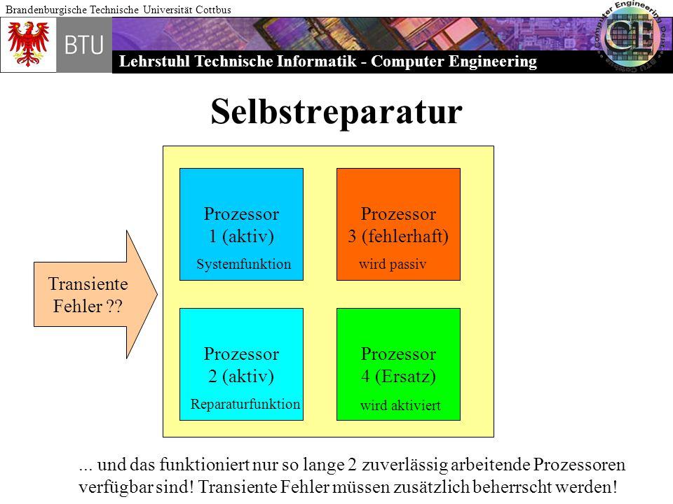 Lehrstuhl Technische Informatik - Computer Engineering Brandenburgische Technische Universität Cottbus Selbstreparatur Prozessor 1 (aktiv) Prozessor 2