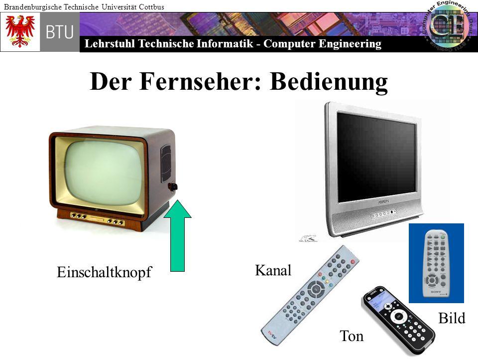 Lehrstuhl Technische Informatik - Computer Engineering Brandenburgische Technische Universität Cottbus Der Fernseher: Bedienung Einschaltknopf Kanal T