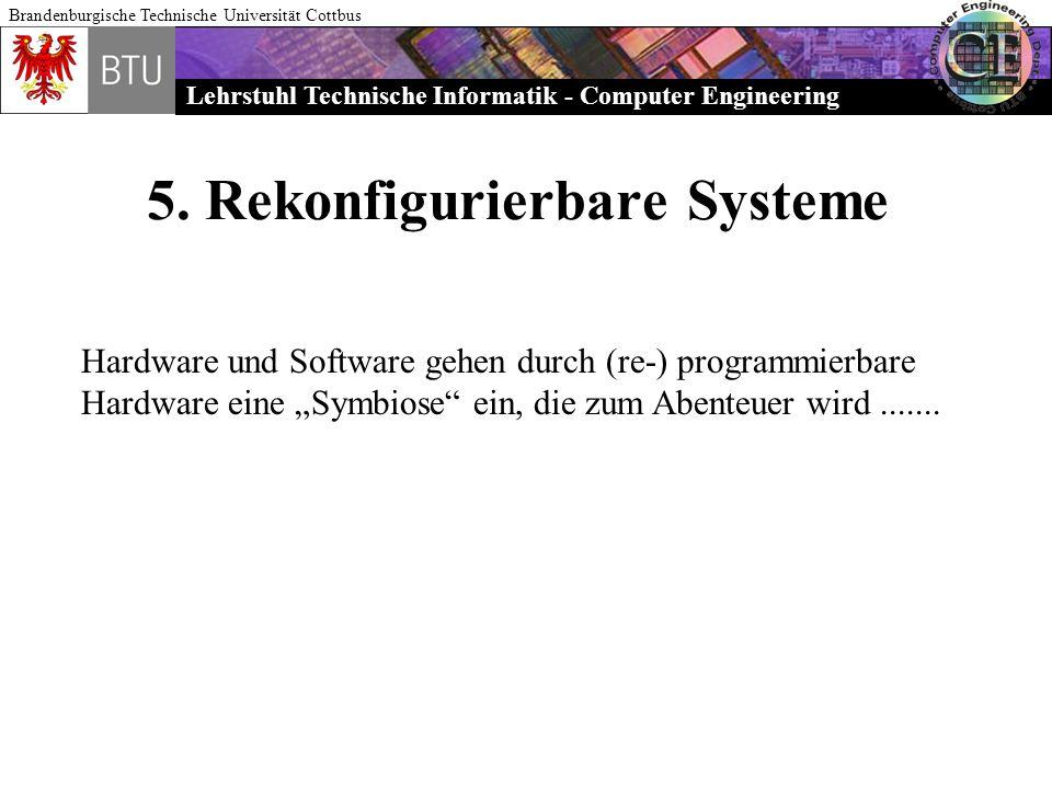 Lehrstuhl Technische Informatik - Computer Engineering Brandenburgische Technische Universität Cottbus 5. Rekonfigurierbare Systeme Hardware und Softw