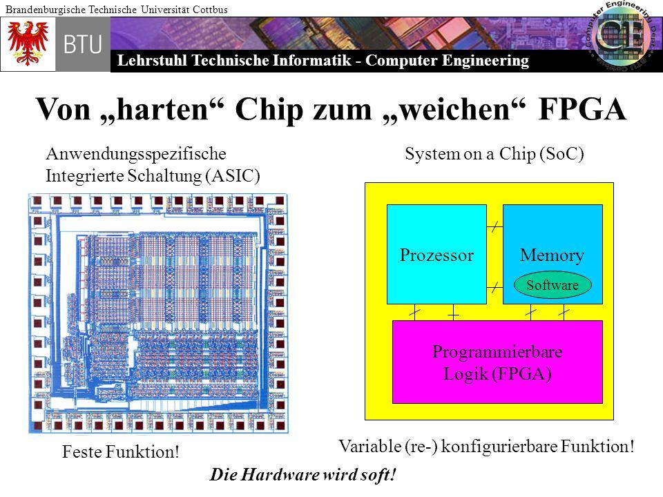 Lehrstuhl Technische Informatik - Computer Engineering Brandenburgische Technische Universität Cottbus Von harten Chip zum weichen FPGA Anwendungsspez