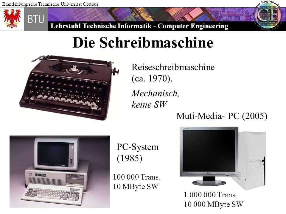 Lehrstuhl Technische Informatik - Computer Engineering Brandenburgische Technische Universität Cottbus Die Schreibmaschine Reiseschreibmaschine (ca. 1
