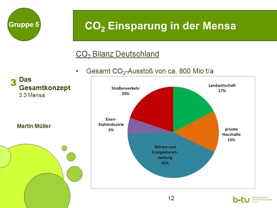 12 CO 2 Bilanz Deutschland Gesamt CO 2 -Ausstoß von ca.