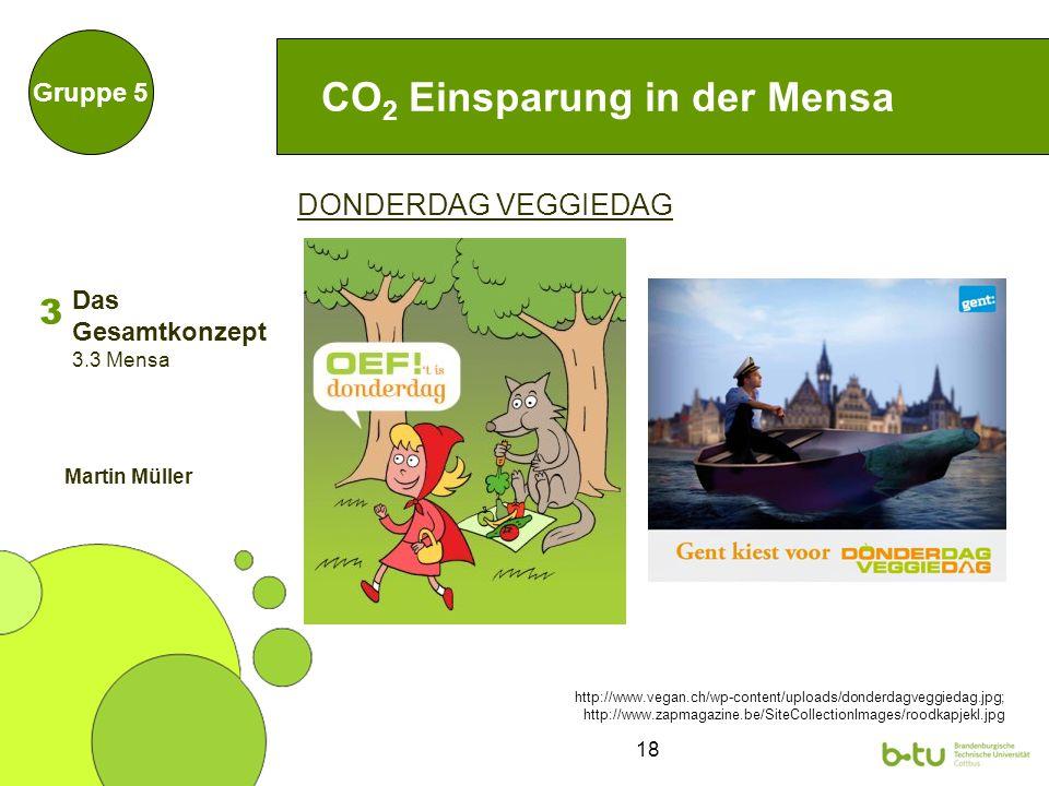 18 DONDERDAG VEGGIEDAG CO 2 Einsparung in der Mensa Gruppe 5 http://www.vegan.ch/wp-content/uploads/donderdagveggiedag.jpg; http://www.zapmagazine.be/SiteCollectionImages/roodkapjekl.jpg 3 3.3 Mensa Martin Müller Das Gesamtkonzept