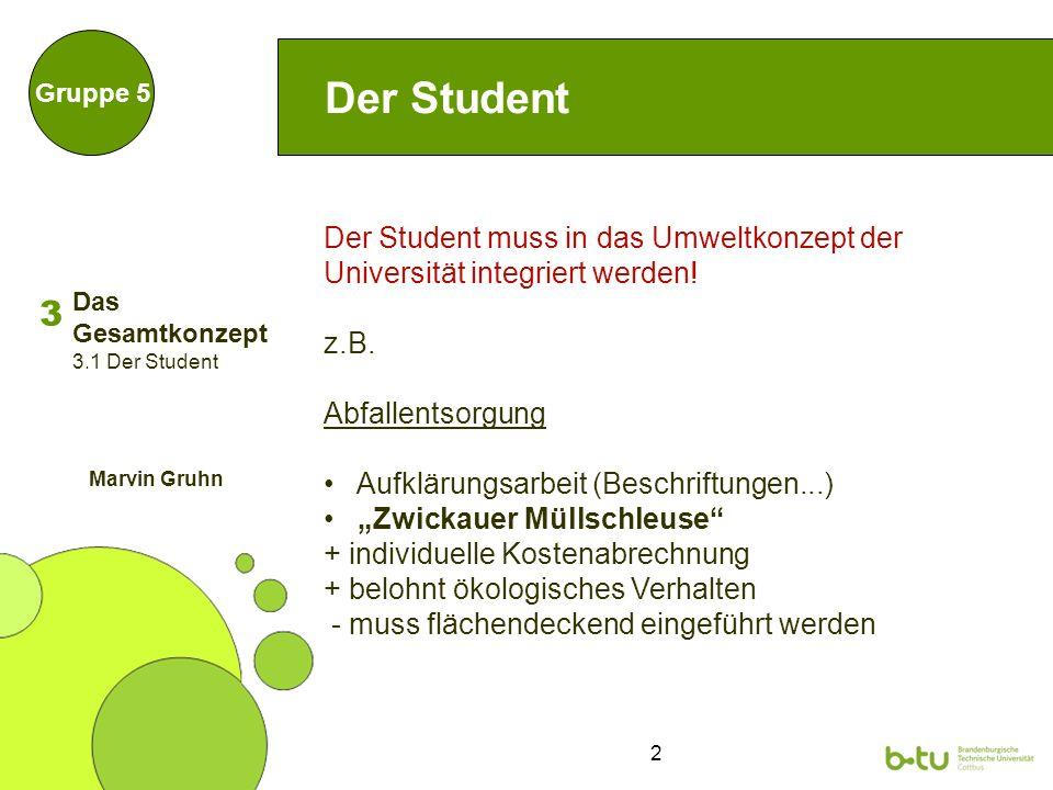 2 Der Student Gruppe 5 Der Student muss in das Umweltkonzept der Universität integriert werden.
