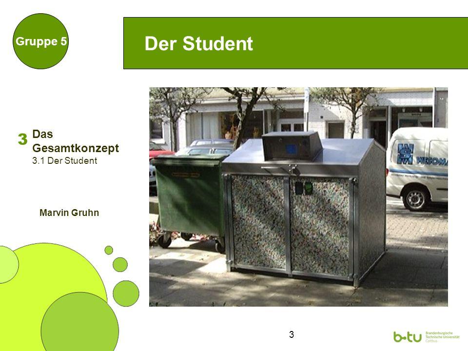 3 Der Student Gruppe 5 3 Das Gesamtkonzept 3.1 Der Student Marvin Gruhn
