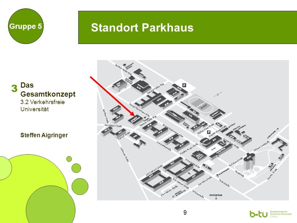 9 Standort Parkhaus Gruppe 5 Das Gesamtkonzept 3 3.2 Verkehrsfreie Universität Steffen Aigringer
