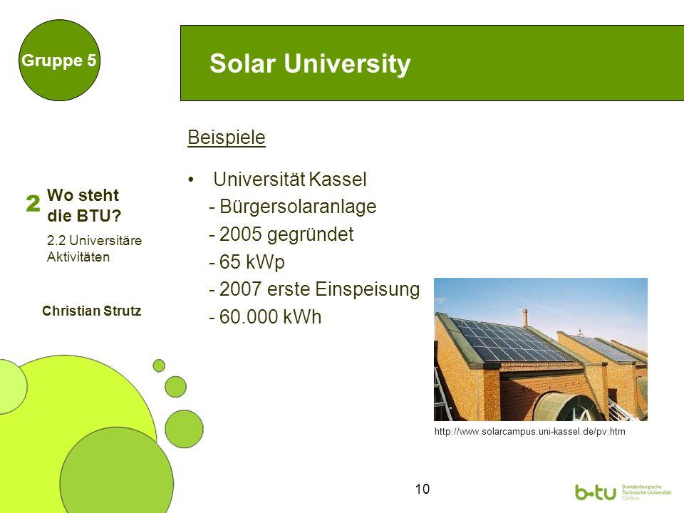 10 Solar University Beispiele Universität Kassel - Bürgersolaranlage - 2005 gegründet - 65 kWp - 2007 erste Einspeisung - 60.000 kWh Gruppe 5 http://www.solarcampus.uni-kassel.de/pv.htm 2 2.2 Universitäre Aktivitäten Christian Strutz Wo steht die BTU