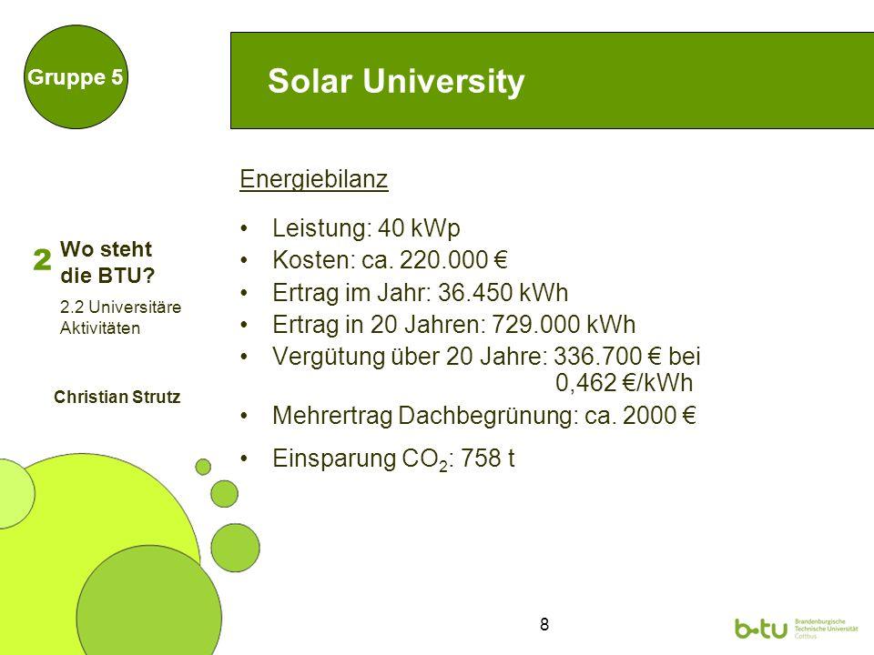 8 Solar University Energiebilanz Leistung: 40 kWp Kosten: ca.