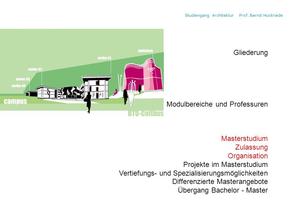 Studiengang Architektur Prof. Bernd Huckriede Gliederung Modulbereiche und Professuren Masterstudium Zulassung Organisation Projekte im Masterstudium