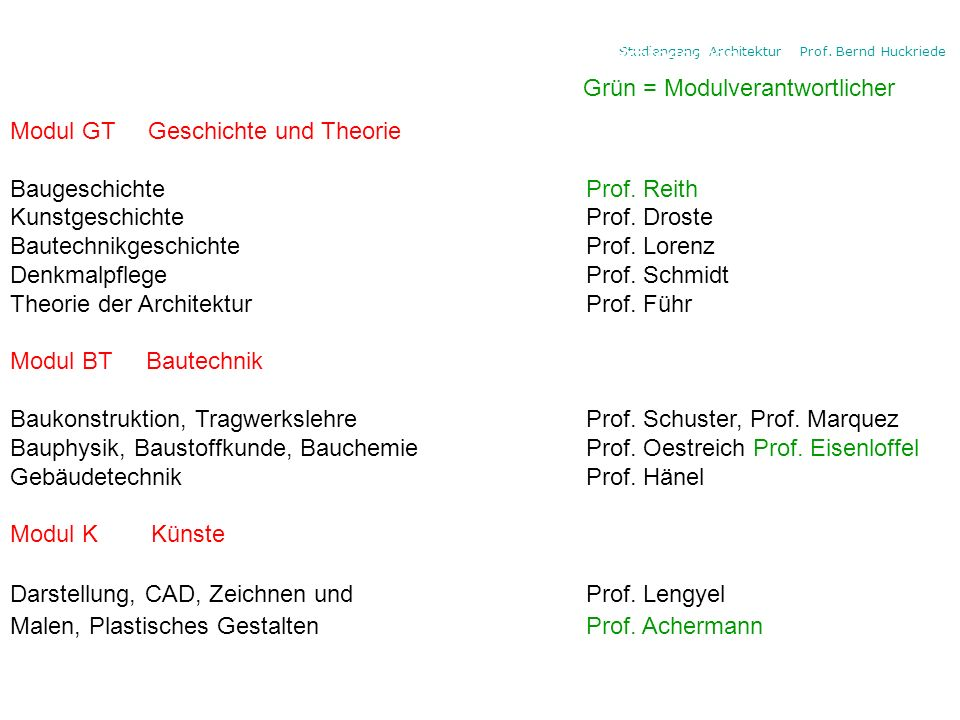 Studiengang Architektur Prof. Bernd Huckriede Die Modulbereiche und die 4 Professoren: Grün = Modulverantwortlicher Modul GT Geschichte und Theorie Ba