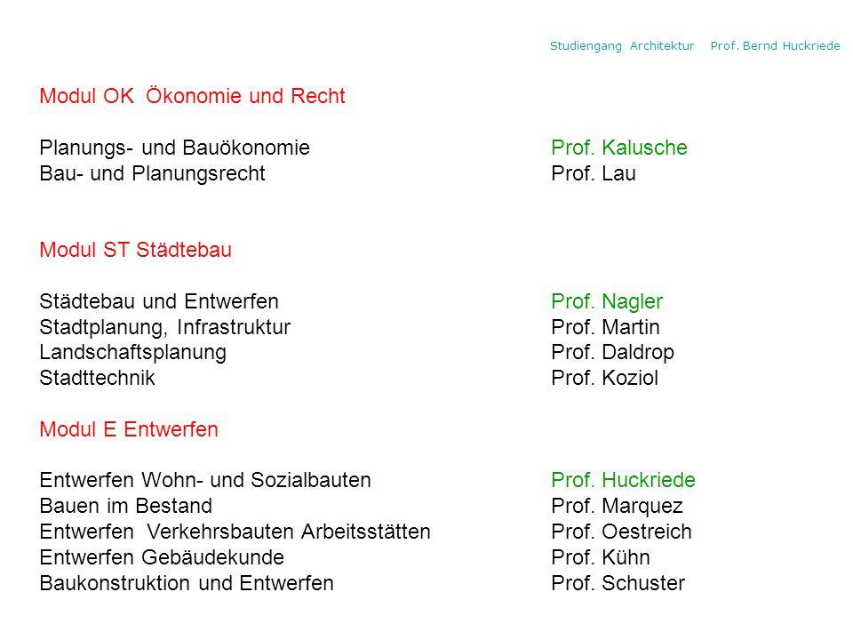 Studiengang Architektur Prof. Bernd Huckriede Modul OK Ökonomie und Recht Planungs- und Bauökonomie Prof. Kalusche Bau- und Planungsrecht Prof. Lau Mo