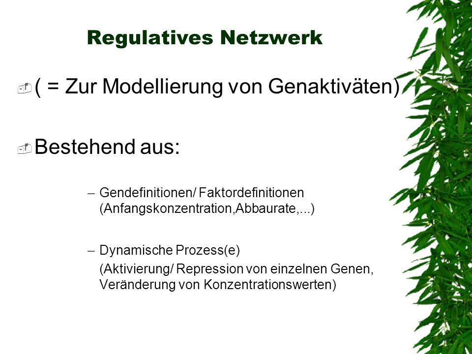 Regulatives Netzwerk ( = Zur Modellierung von Genaktiväten) Bestehend aus: –Gendefinitionen/ Faktordefinitionen (Anfangskonzentration,Abbaurate,...) –