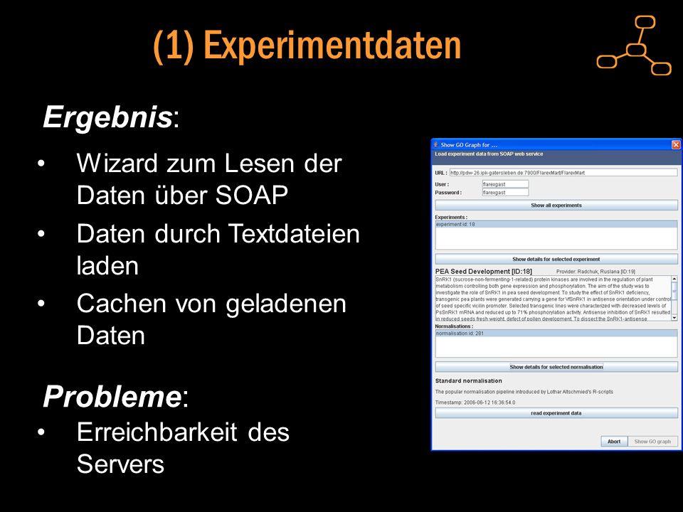 (1) Experimentdaten Ergebnis: Wizard zum Lesen der Daten über SOAP Daten durch Textdateien laden Cachen von geladenen Daten Probleme: Erreichbarkeit des Servers