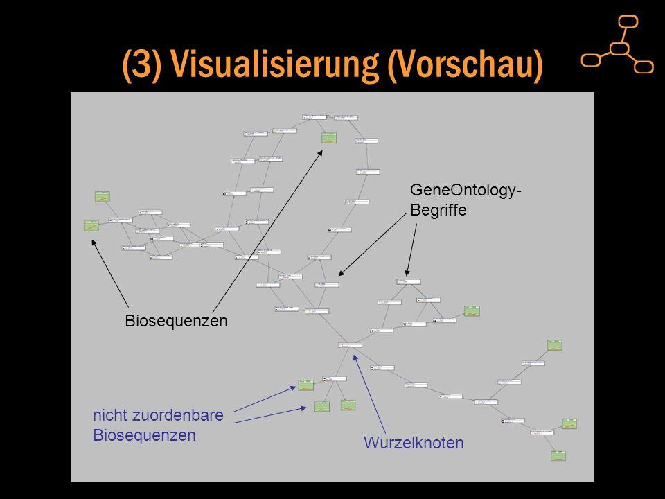 (3) Visualisierung (Vorschau) Biosequenzen GeneOntology- Begriffe Wurzelknoten nicht zuordenbare Biosequenzen